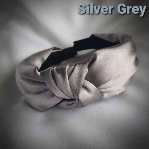 Silver Grey Satin Knotted Headband